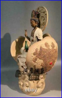 21 Old Wucai Porcelain Lotus Kwan-yin Kuan-yin Guanyin Quan Yin Goddess Statue