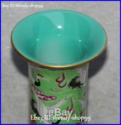 21 Top Color Porcelain Tree Peony Flower Red-Crowned Crane Bird Vase Bottle Jar