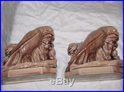 2275 McDONALD LT BROWN ROOKWOOD ROOK BIRD RAVEN STATUE ART POTTERY Bookends