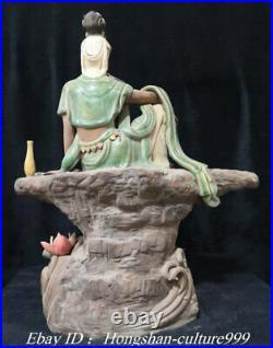 22Large Size Chian Shiwan Porcelain Free Lotus Kwan-yin Godness Buddha Statue