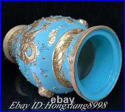 22.2 Qianlong Marked Turquoise Glaze Porcelain Silver Dragon Vase Bottle Pair