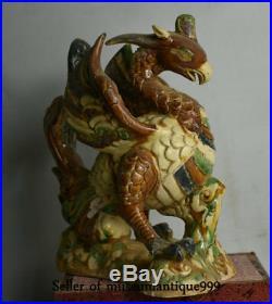 23CM Old Chinese Tang Sancai Porcelain Feng Shui Phoenix Bird Beast Statue