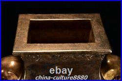 24Old Yongzheng Year Bronze Glaze Porcelain Gold Elephant Ear Vase Bottle Pot