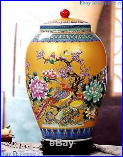 24 China fine enamel golden porcelain carved flower bird pot Jar Vase Statue