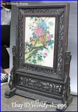 24 Old Ebony Wood Inlay Porcelain Magpie Bird Flower Folding Screen Statue