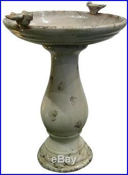 24 in Antique Ceramic Birdbath with 2 Birds Outdoor Basin Bird Bath Garden Statue