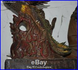 25 Old Wucai Porcelain Auspicious Phoenix Phenix Fenghuang Bird Animal Statue