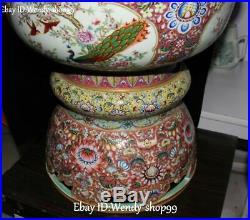 27 Enamel Porcelain Gold Plum Peony Flower Phoenix Magpie Bird Tank Pot Crock