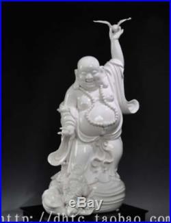 27 Top Dehua White Porcelain Bird Golden Toad Spittor Maitreya Buddha Statue