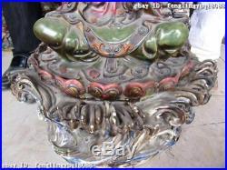 28Large Classic WuCai porcelain bamboo & Bird Kwan-Yin Guan Yin Buddha statue