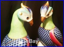 2 COCKATOO vtg italian art porcelain exotic bird statue gold painting sculpture