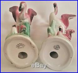 2 Flamingo statues, figures, bird, Leftons Occupied Japan, porcelain, 1950, 8t