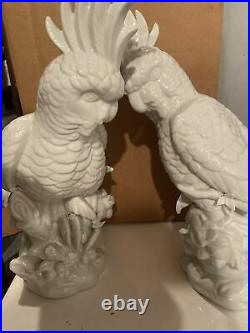 2 Life-Size White Cockatoo Porcelain Parrot Bird Statue Figures 17
