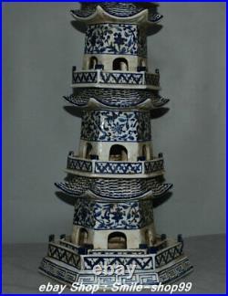 32.2 Rare China Blue white porcelain 5 layer Buddha Stupa Pagoda Tower Statue