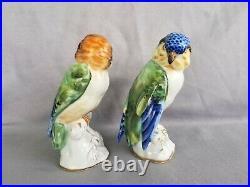 4.5 Pair Vista Alegre Bird Figurines Love Birds Portugal Parakeet Statues