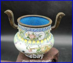 4 Qianlong Marked Old Color Enamel Porcelain Flower Bird Incense Burner Censer