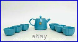 5.5 Jingde Marked Old China Bule Chai Porcelain Dynasty Handle Teapot 6 Cup Set