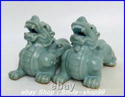 5.5 Old Song Dy Ru kiln porcelain Fengshui Pixiu brave troops Beast Statue Pair