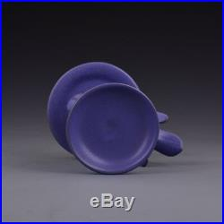 6 China antique Porcelain Song Ru kiln Purple Glaze Bird shape Candlestick