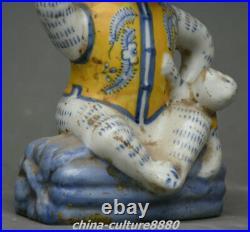 7.8 Old China Blue White Porcelain Dynasty Palace 2 Monkey Wine Tea Pot Flagon