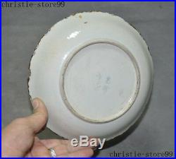 8Antique old Chinese Wucai porcelain bird pine statue Dish Plate Tray Salver