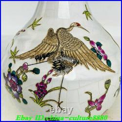 8Old China Dynasty Ru Kiln Porcelain Gilt Fengshui birds Crane Bottle Vase Pair
