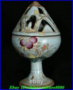 8Old China Ru Kiln Porcelain Fengshui Shou Tao verse Incense Burner Censer