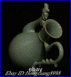 8.2 Old China Song Dynasty Ru Kiln Porcelain Phoenix handle Wine Tea Pot Flagon