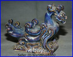 8.4 Old Chinese Jun Kiln Blue Porcelain Dynasty Phoenix Birds Statue Sculpture