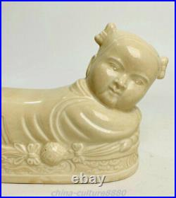 8.6Old Song Ding Kyin Porcelain Fengshui Tong Boy Girl weeping willow Pair