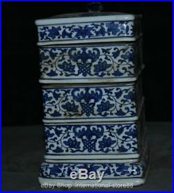 8.8 Old Chinese Blue White Porcelain Dynasty Palace Flower Bird Jewelry Box