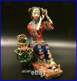 8 Chinese Shiwan Porcelain Pottery Classical beauty Belle Women Flower basket T