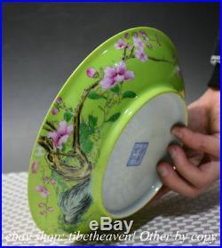 8 Marked China Celadon Glaze Porcelain Hand Drawing Flower Bird Plate Tray dish