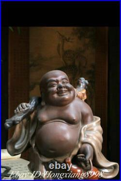 8 Old China Wu Cai Porcelain Happy Laugh Maitreya Buddha Moneybag Wealth Statue