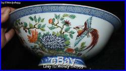 8 Unique Enamel Color Porcelain Bat Parrot Bird Flower Nest Bowl Pot Statue