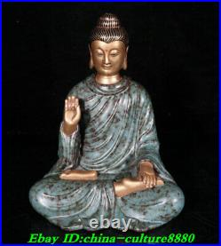 9Old China Turquoise Glaze Porcelain Gilt Shakyamuni Amitabha Buddha Statue