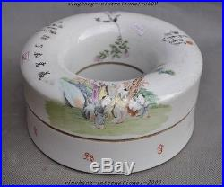 9Old China Wucai Porcelain Bird Longevity god Boy Statue Tank Crock Box Boxes A