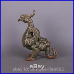 9.4 China Yaozhou Kiln Porcelain Green Glaze Phoenix Fenghuang Bird King Statue
