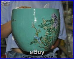 9.6 Old Chinese Dynasty wucai Porcelain Flower bird Statue Pot Jar Tank Crock