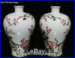 9 China Color Porcelain Magpie Bird Tree Flower Vase Bottle Flask pot Pair