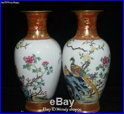9 Chinese Enamel Color Porcelain Peacock Bird Flower Pot Vase Jardiniere Pair