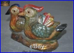 9 Chinese Pottery Wucai porcelain Auspicious Lucky Bird mandarin duck Statue
