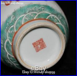 9 Color Porcelain Feng Shui Dragon Phoenix Fenghuang Bird Vase Bottle Jar Pair