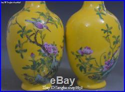 9 Color Porcelain Peony Peonies Flower Bird Flower Vase Bottle Statue Pair