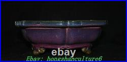 9 Old China Song Dynasty Jun Kiln Porcelain 3 Leg Pen wash writing-brush washer