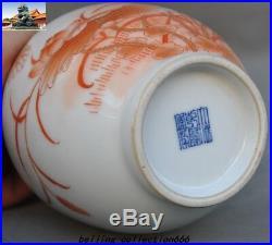 9 Old China red&White porcelain glaze lotus bird Zun Bottle Pot Vase Jar Statue