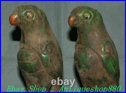 9 Old Chinese Tang Sancai Porcelain Stand Bird Birds Animal Statue Pair