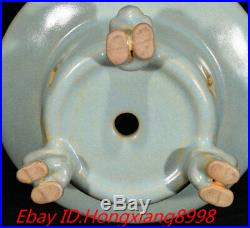 9 Old Song Dynasty Ru Kiln Porcelain lotus Phoenix Incense Burner Censer Pair
