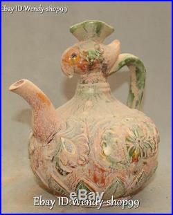 9 Tang Sancai Pottery Porcelain Carved Phoenix Bird Wine Teapot Flagon Statue