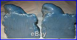 ANTIQUE McDONALD SEA BLUE ROOKWOOD ROOK BIRD RAVEN STATUE ART POTTERY BOOKENDS